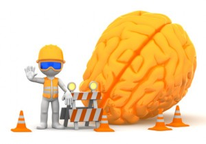 3d builder with big orange brain on background. Isolated