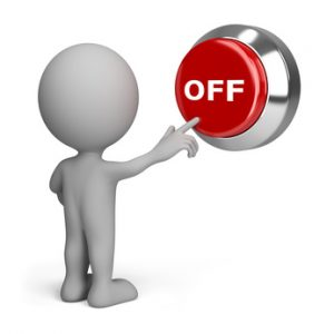 3d person pressing the red button off. 3d image. Isolated white background.